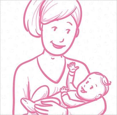 Ilustração utilizada mostrando cuidado e carinho das mães com seus bebês