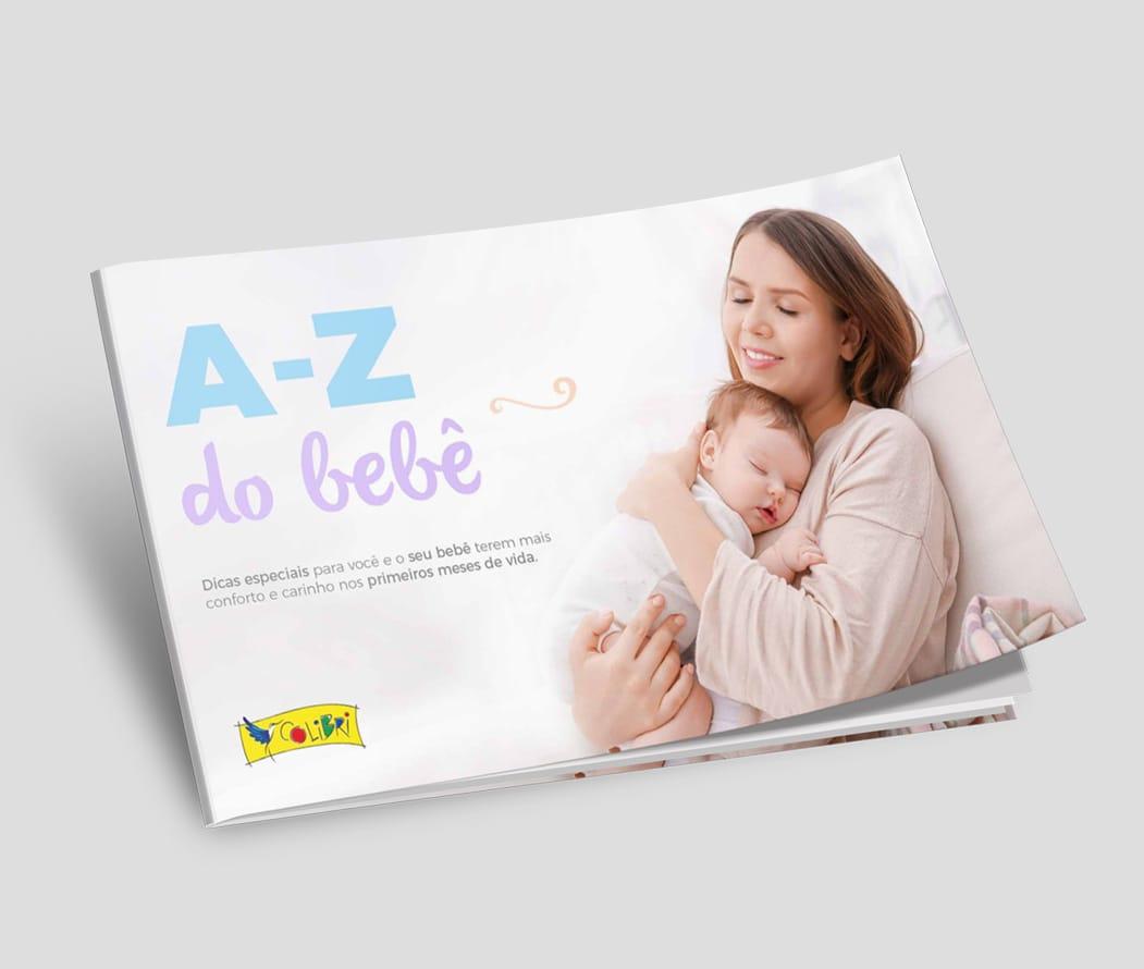 Mockup do manual A a Z do Bebê - Colibri