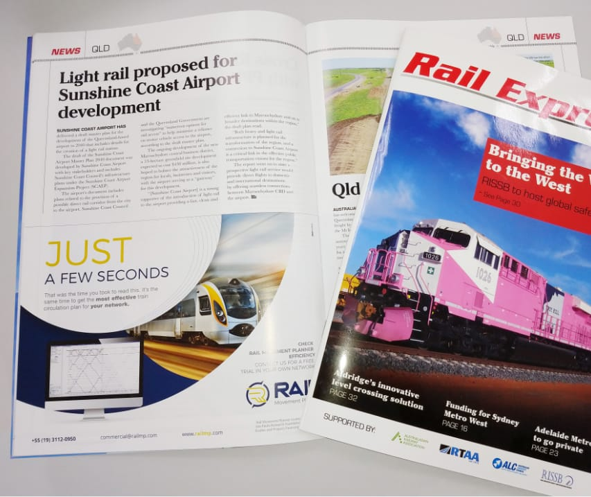 Anúncio da Rail MP na revista australiana Rail Express