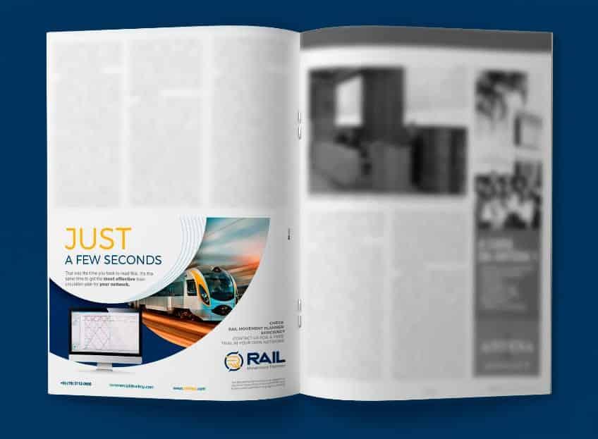 Anúncio da RAIL MP na revista Rail Express, na Austrália